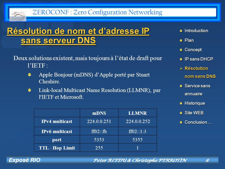 Exposé RIO Peter BLEDU & Christophe PERROTIN9 Protocole LLMNR Requête de résolution en multicast.