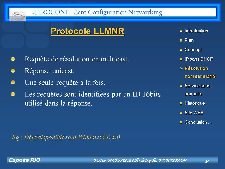Exposé RIO Peter BLEDU & Christophe PERROTIN10 Protocole mDNS Communauté de machine coopérant (DNS).