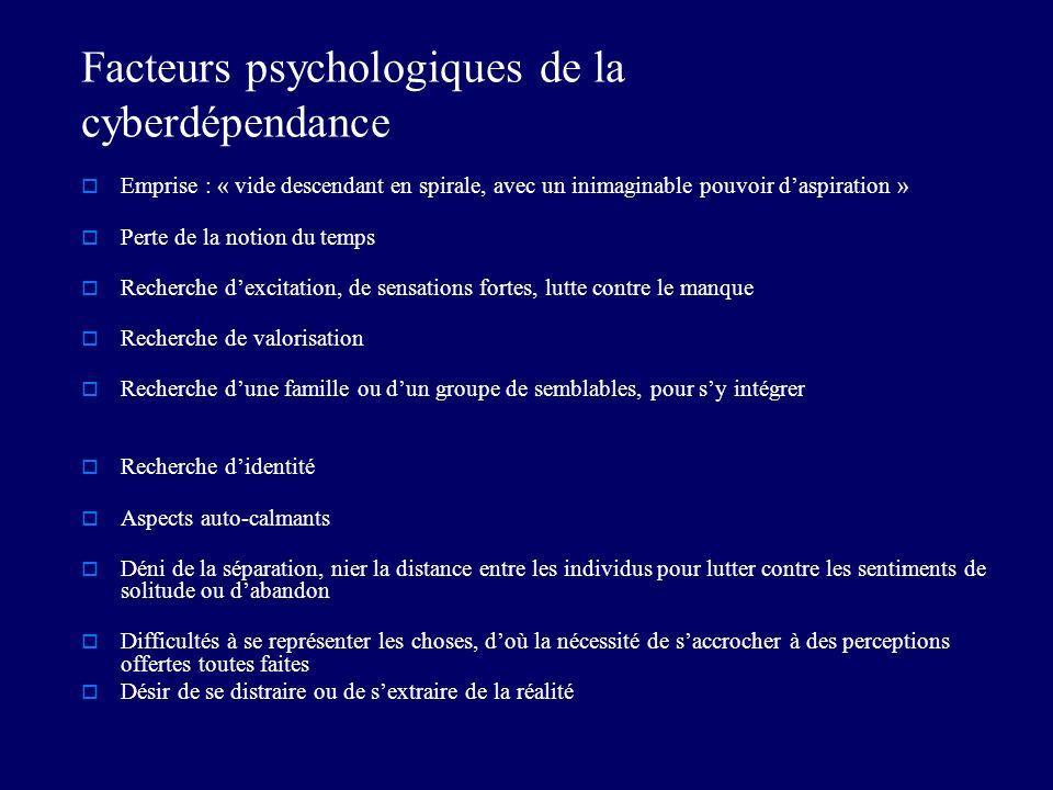 Facteurs psychologiques de la cyberdépendance Emprise : « vide descendant en spirale, avec un inimaginable pouvoir daspiration » Perte de la notion du