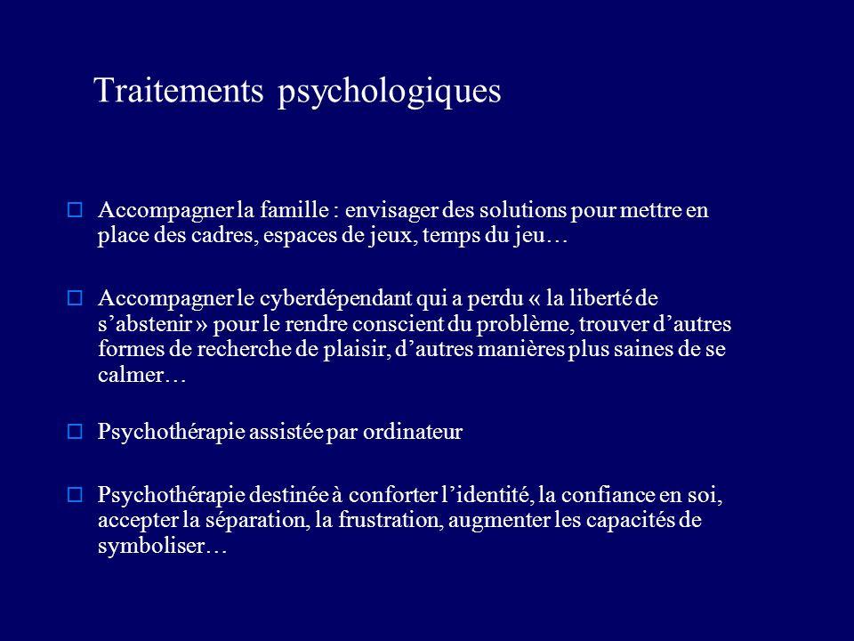 Traitements psychologiques Accompagner la famille : envisager des solutions pour mettre en place des cadres, espaces de jeux, temps du jeu… Accompagne