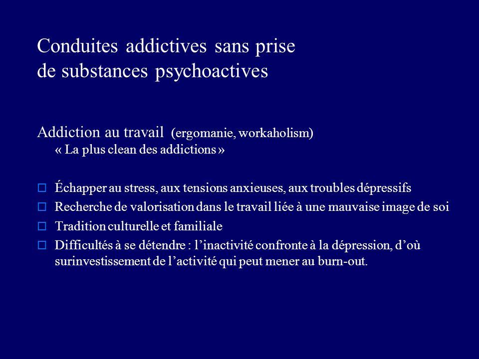 Conduites addictives sans prise de substances psychoactives Addiction au travail (ergomanie, workaholism) « La plus clean des addictions » Échapper au