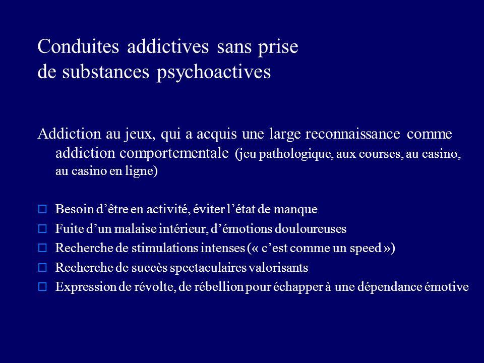Conduites addictives sans prise de substances psychoactives Addiction au jeux, qui a acquis une large reconnaissance comme addiction comportementale (