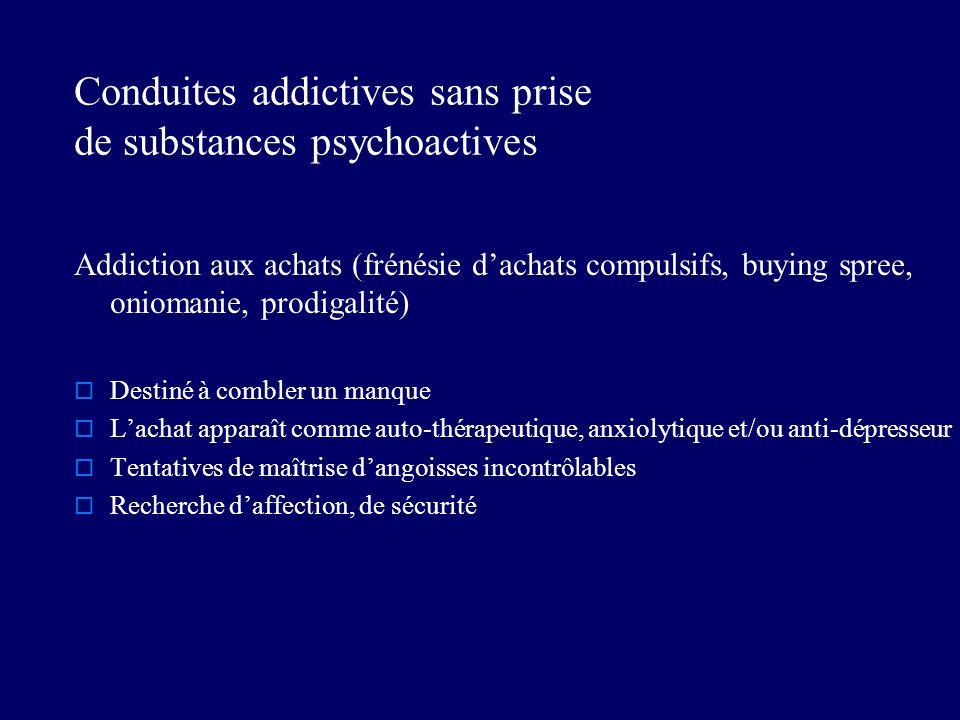 Conduites addictives sans prise de substances psychoactives Addiction aux achats (frénésie dachats compulsifs, buying spree, oniomanie, prodigalité) D