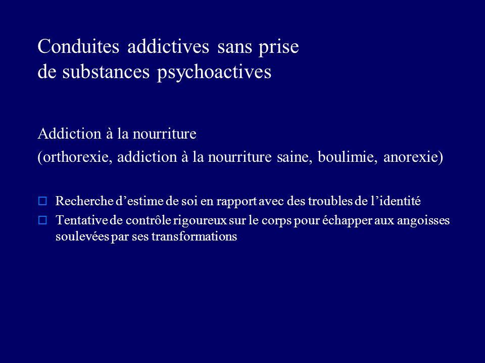 Conduites addictives sans prise de substances psychoactives Addiction à la nourriture (orthorexie, addiction à la nourriture saine, boulimie, anorexie