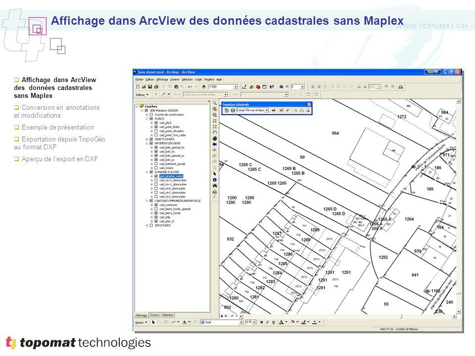 WWW.TOPOMAT.CH Affichage dans ArcView des données cadastrales sans Maplex Conversion en annotations et modifications Exemple de présentation Exportati