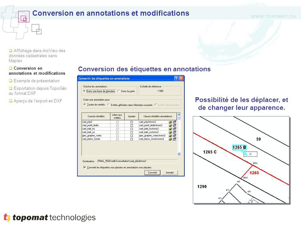 WWW.TOPOMAT.CH Conversion en annotations et modifications Conversion des étiquettes en annotations Possibilité de les déplacer, et de changer leur apparence.
