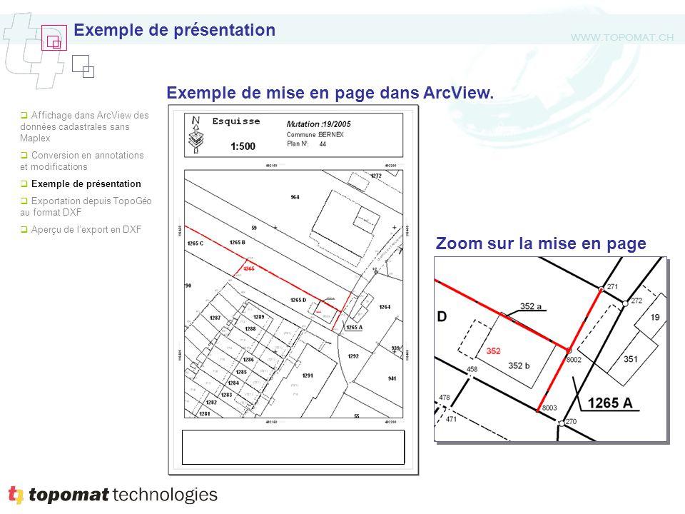 WWW.TOPOMAT.CH Exemple de présentation Zoom sur la mise en page Affichage dans ArcView des données cadastrales sans Maplex Conversion en annotations e