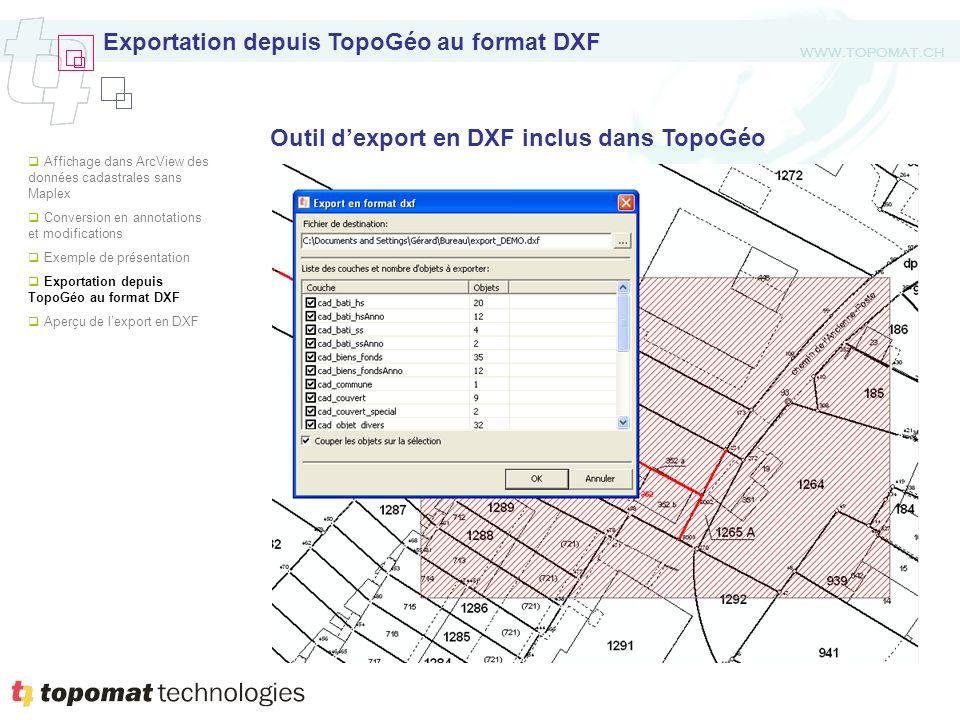 WWW.TOPOMAT.CH Outil dexport en DXF inclus dans TopoGéo Exportation depuis TopoGéo au format DXF Affichage dans ArcView des données cadastrales sans Maplex Conversion en annotations et modifications Exemple de présentation Exportation depuis TopoGéo au format DXF Aperçu de lexport en DXF