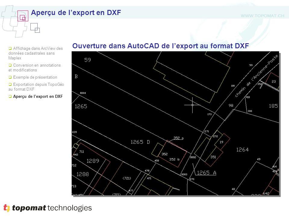 WWW.TOPOMAT.CH Aperçu de lexport en DXF Ouverture dans AutoCAD de lexport au format DXF Affichage dans ArcView des données cadastrales sans Maplex Conversion en annotations et modifications Exemple de présentation Exportation depuis TopoGéo au format DXF Aperçu de lexport en DXF