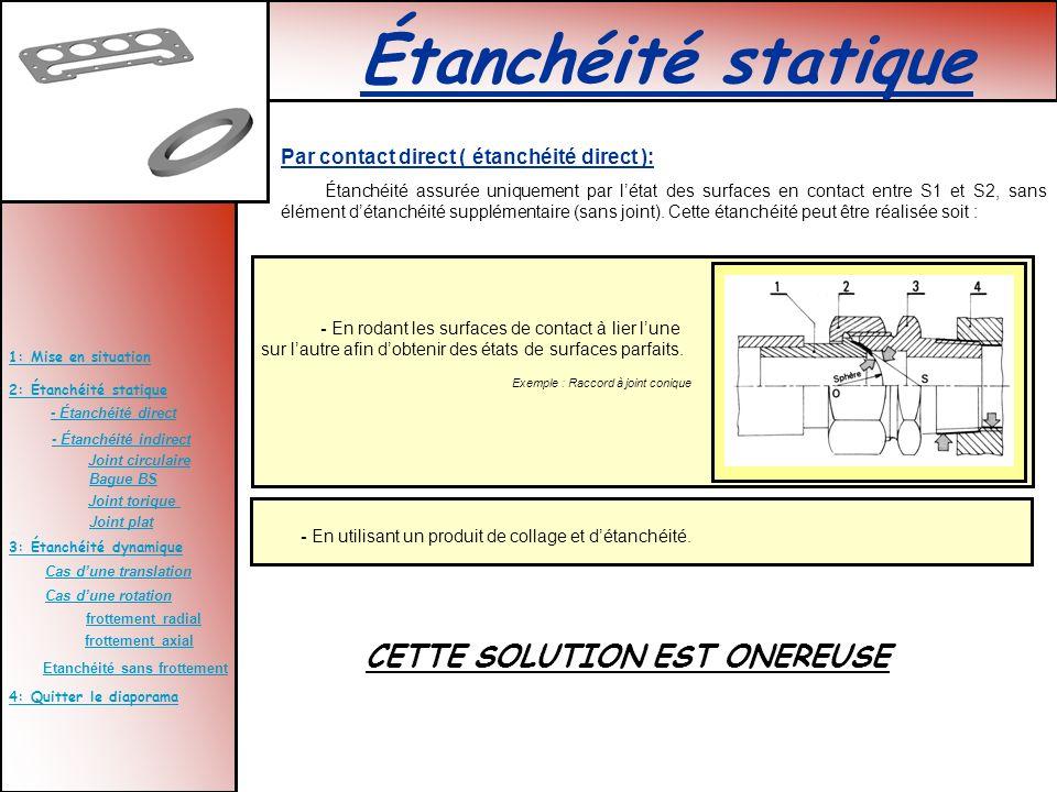2: Étanchéité statique 3: Étanchéité dynamique 4: Quitter le diaporama 1: Mise en situation - Étanchéité direct - Étanchéité indirect Bague BS Joint t