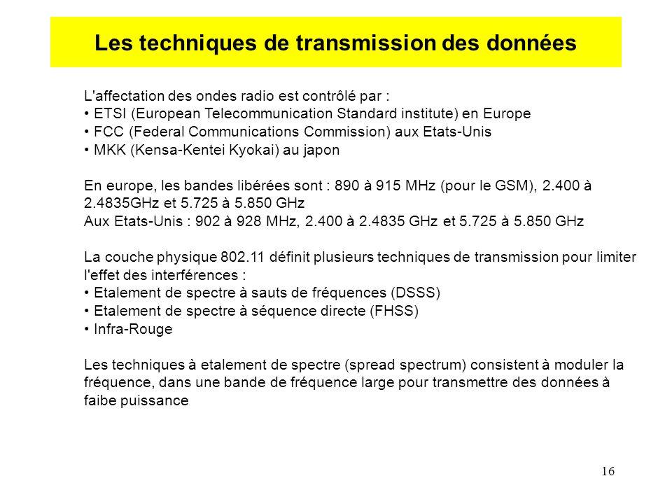16 Les techniques de transmission des données L affectation des ondes radio est contrôlé par : ETSI (European Telecommunication Standard institute) en Europe FCC (Federal Communications Commission) aux Etats-Unis MKK (Kensa-Kentei Kyokai) au japon En europe, les bandes libérées sont : 890 à 915 MHz (pour le GSM), 2.400 à 2.4835GHz et 5.725 à 5.850 GHz Aux Etats-Unis : 902 à 928 MHz, 2.400 à 2.4835 GHz et 5.725 à 5.850 GHz La couche physique 802.11 définit plusieurs techniques de transmission pour limiter l effet des interférences : Etalement de spectre à sauts de fréquences (DSSS) Etalement de spectre à séquence directe (FHSS) Infra-Rouge Les techniques à etalement de spectre (spread spectrum) consistent à moduler la fréquence, dans une bande de fréquence large pour transmettre des données à faibe puissance