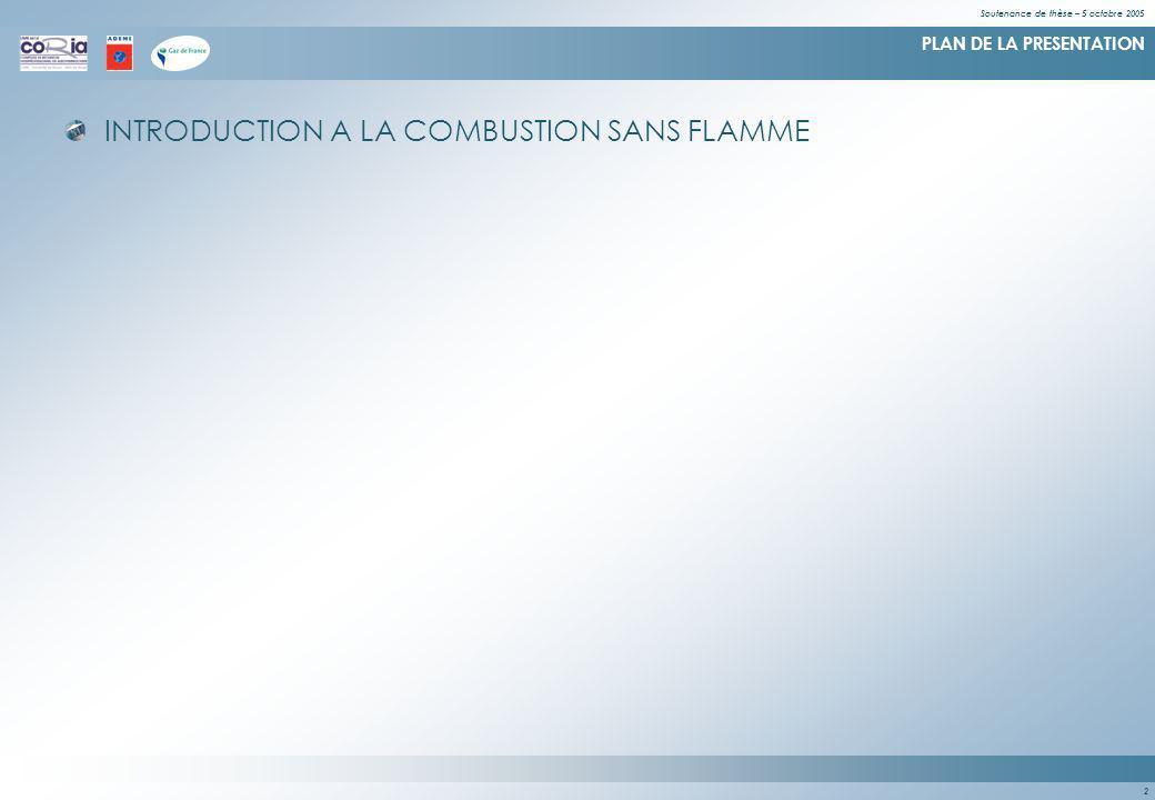 Soutenance de thèse – 5 octobre 2005 2 PLAN DE LA PRESENTATION INTRODUCTION A LA COMBUSTION SANS FLAMME