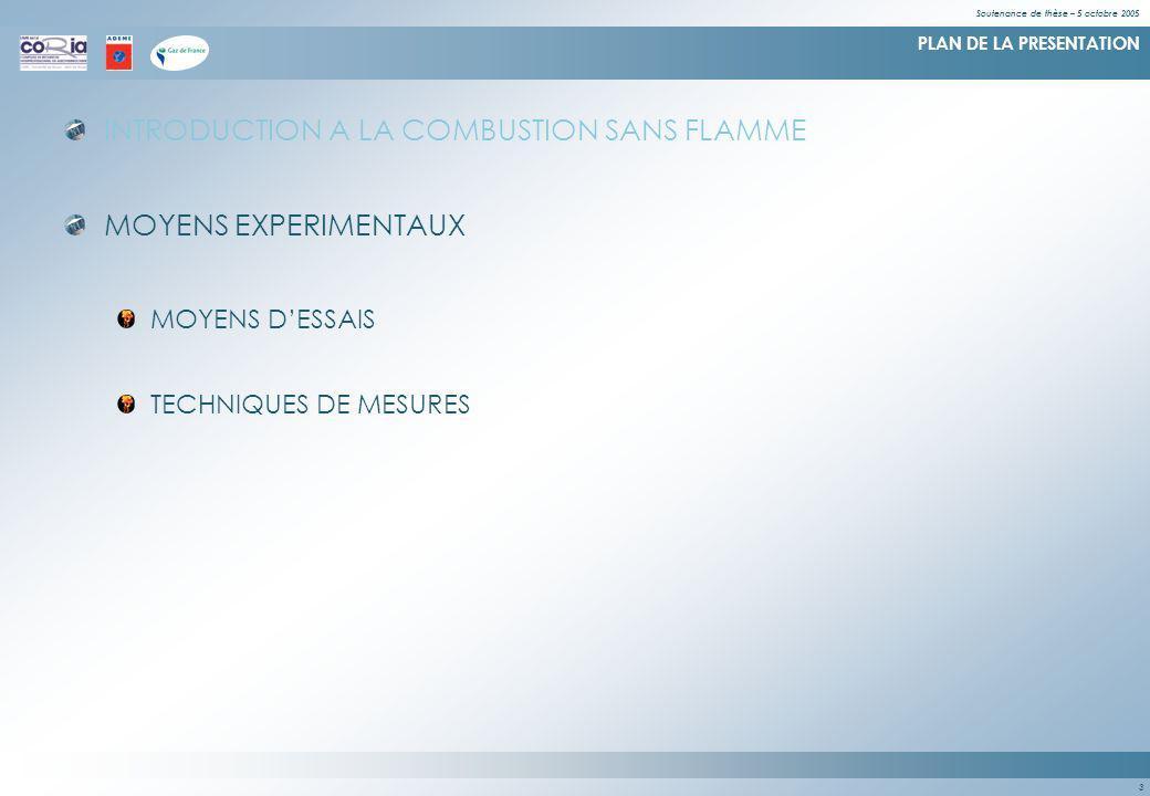 Soutenance de thèse – 5 octobre 2005 3 PLAN DE LA PRESENTATION INTRODUCTION A LA COMBUSTION SANS FLAMME MOYENS EXPERIMENTAUX MOYENS DESSAIS TECHNIQUES DE MESURES