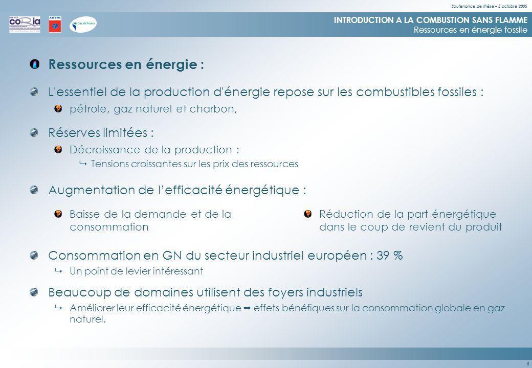 Soutenance de thèse – 5 octobre 2005 8 Ressources en énergie : INTRODUCTION A LA COMBUSTION SANS FLAMME Ressources en énergie fossile L essentiel de la production d énergie repose sur les combustibles fossiles : pétrole, gaz naturel et charbon, Réserves limitées : Décroissance de la production : Tensions croissantes sur les prix des ressources Augmentation de lefficacité énergétique : Baisse de la demande et de la consommation Réduction de la part énergétique dans le coup de revient du produit Consommation en GN du secteur industriel européen : 39 % Un point de levier intéressant Beaucoup de domaines utilisent des foyers industriels Améliorer leur efficacité énergétique effets bénéfiques sur la consommation globale en gaz naturel.