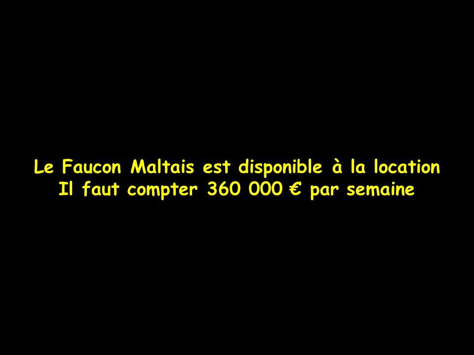Le Faucon Maltais est disponible à la location Il faut compter 360 000 par semaine