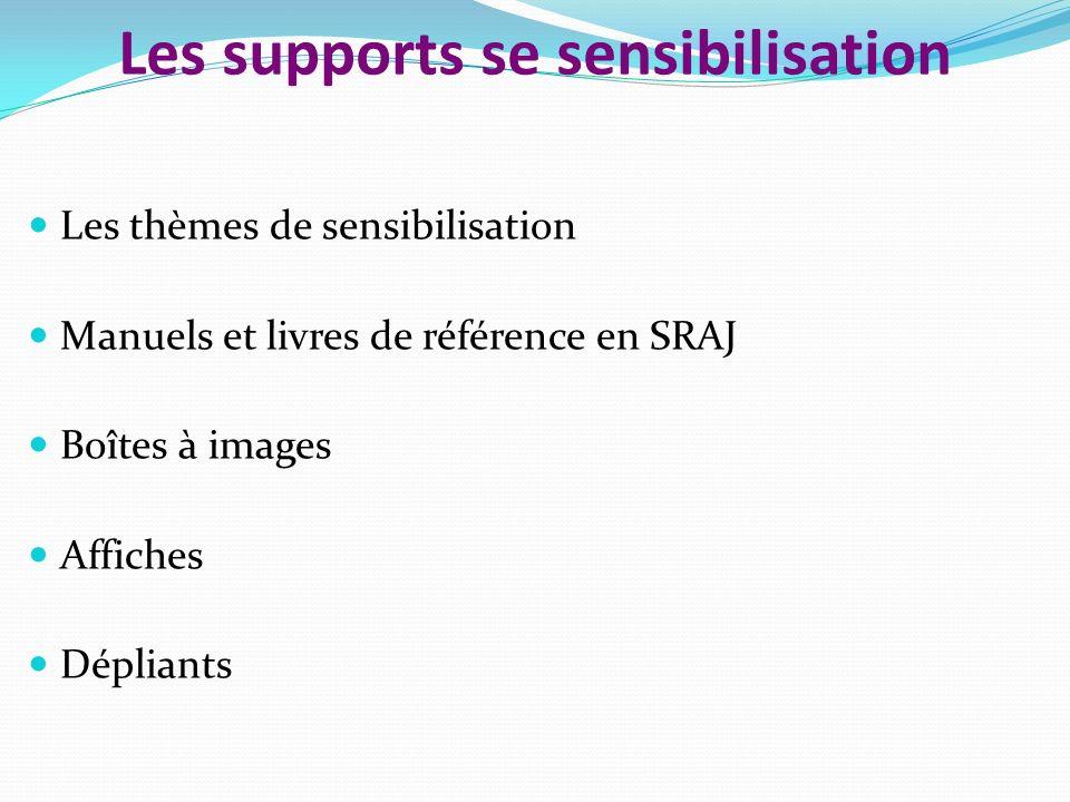 Les supports se sensibilisation Les thèmes de sensibilisation Manuels et livres de référence en SRAJ Boîtes à images Affiches Dépliants