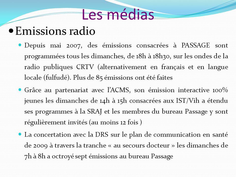 Les médias Emissions radio Depuis mai 2007, des émissions consacrées à PASSAGE sont programmées tous les dimanches, de 18h à 18h30, sur les ondes de la radio publiques CRTV (alternativement en français et en langue locale (fulfudé).