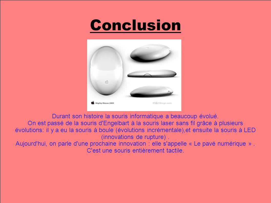 Conclusion Durant son histoire la souris informatique a beaucoup évolué.