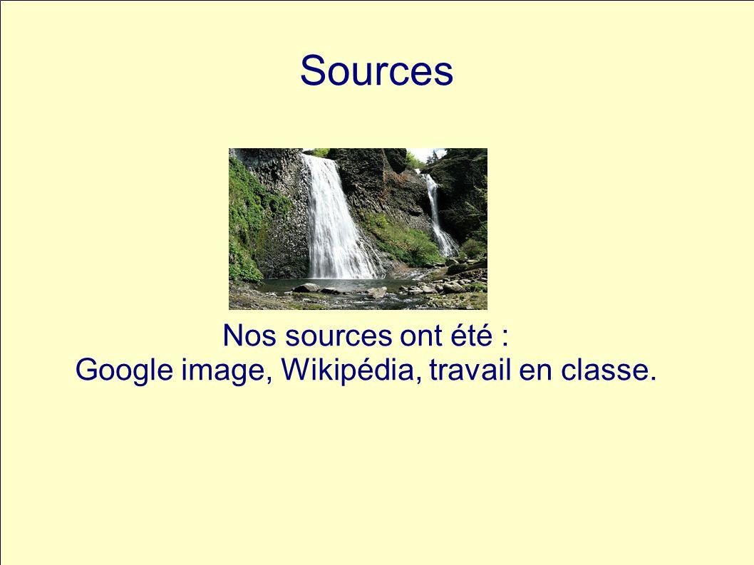 Sources Nos sources ont été : Google image, Wikipédia, travail en classe.