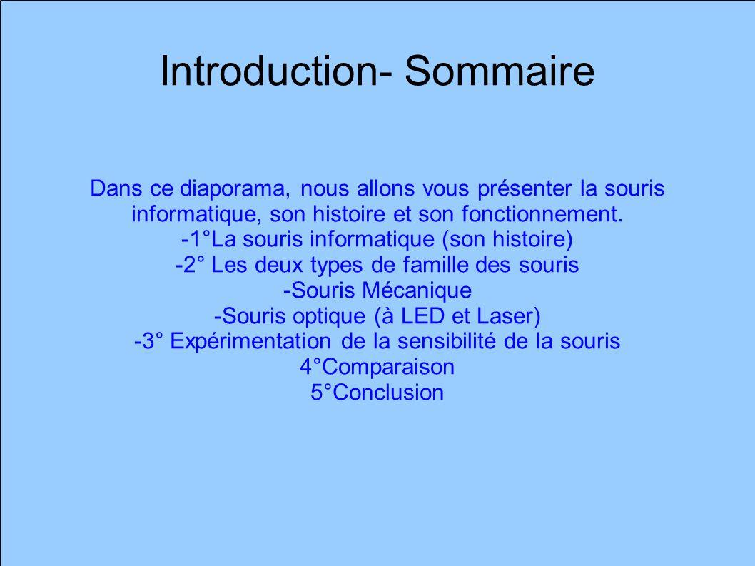 Introduction- Sommaire Dans ce diaporama, nous allons vous présenter la souris informatique, son histoire et son fonctionnement.