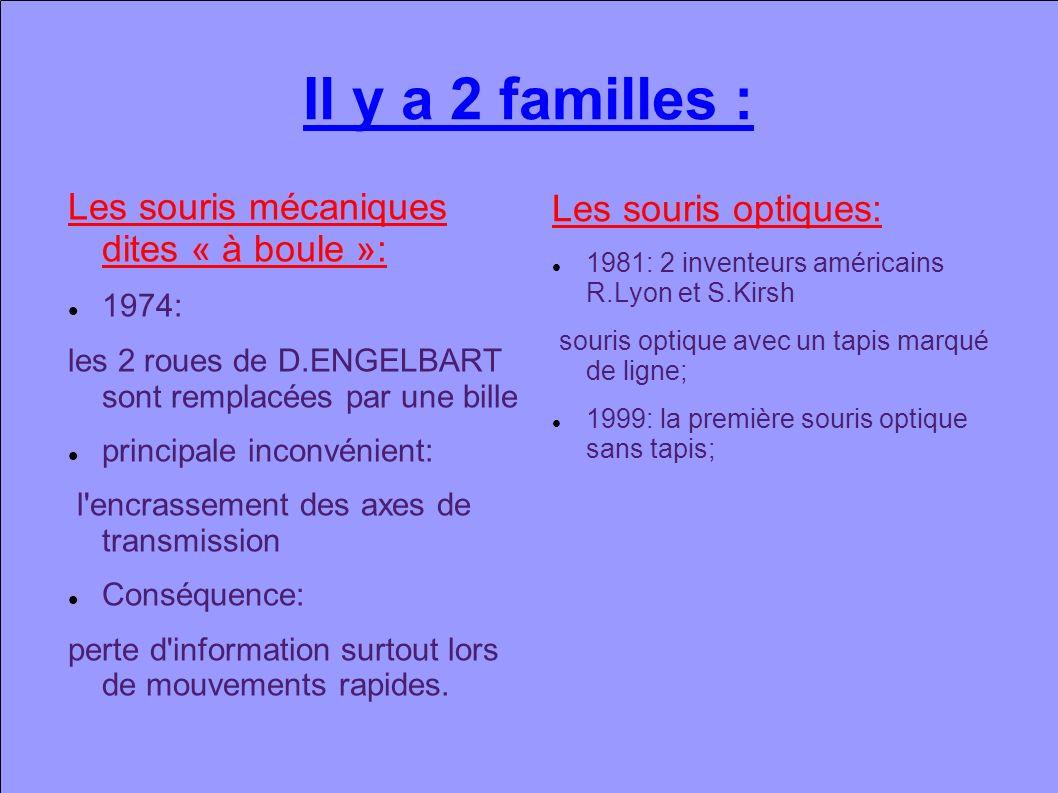 Il y a 2 familles : Les souris mécaniques dites « à boule »: 1974: les 2 roues de D.ENGELBART sont remplacées par une bille principale inconvénient: l encrassement des axes de transmission Conséquence: perte d information surtout lors de mouvements rapides.