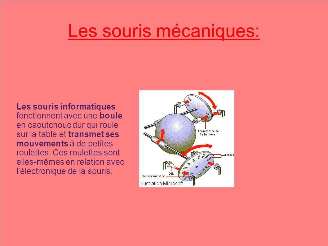 Les souris mécaniques: Les souris informatiques fonctionnent avec une boule en caoutchouc dur qui roule sur la table et transmet ses mouvements à de petites roulettes.