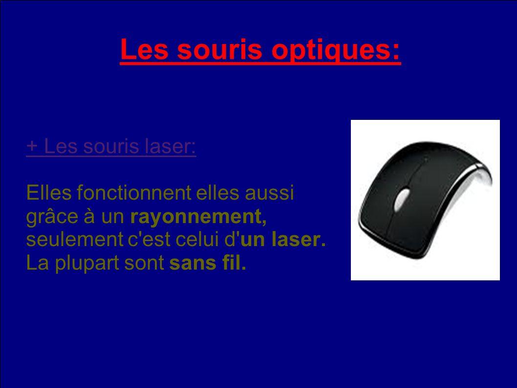 Les souris optiques: + Les souris laser: Elles fonctionnent elles aussi grâce à un rayonnement, seulement c est celui d un laser.