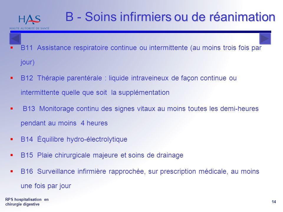RPS hospitalisation en chirurgie digestive 14 B - Soins infirmiers ou de réanimation B - Soins infirmiers ou de réanimation B11 Assistance respiratoire continue ou intermittente (au moins trois fois par jour) B12 Thérapie parentérale : liquide intraveineux de façon continue ou intermittente quelle que soit la supplémentation B13 Monitorage continu des signes vitaux au moins toutes les demi-heures pendant au moins 4 heures B14 Équilibre hydro-électrolytique B15 Plaie chirurgicale majeure et soins de drainage B16 Surveillance infirmière rapprochée, sur prescription médicale, au moins une fois par jour