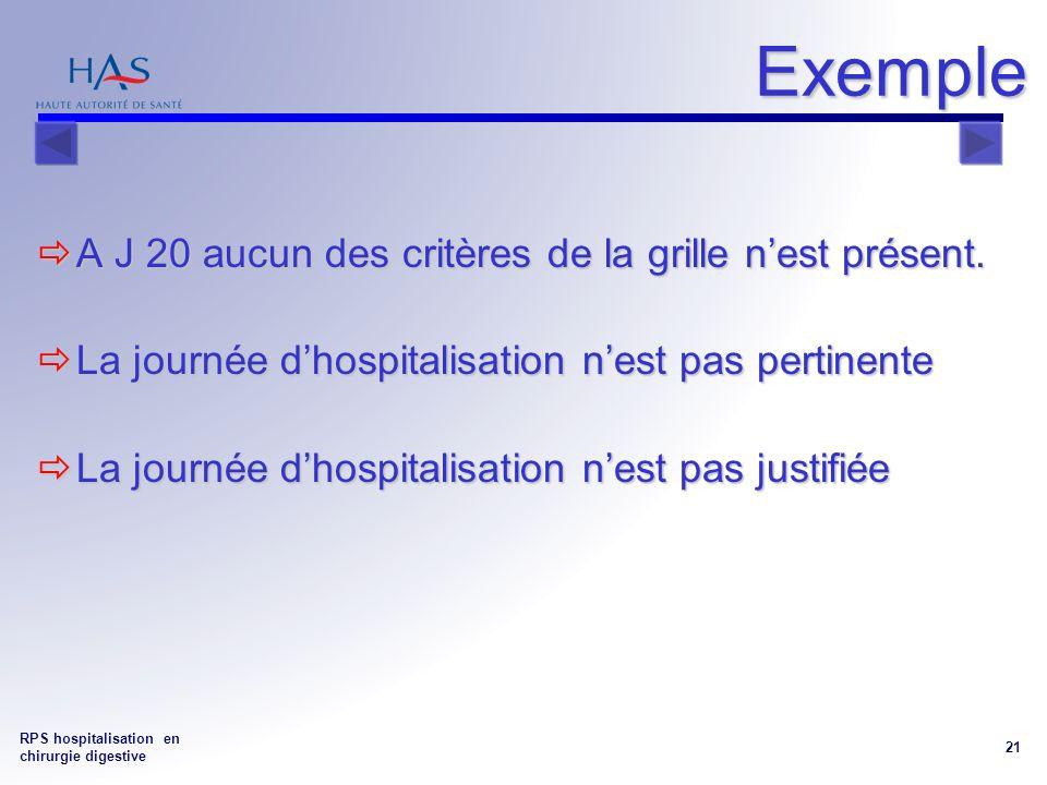 RPS hospitalisation en chirurgie digestive 21 Exemple A J 20 aucun des critères de la grille nest présent.