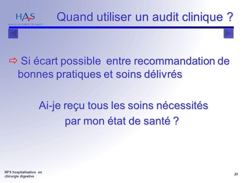 RPS hospitalisation en chirurgie digestive 29 Quand utiliser un audit clinique .