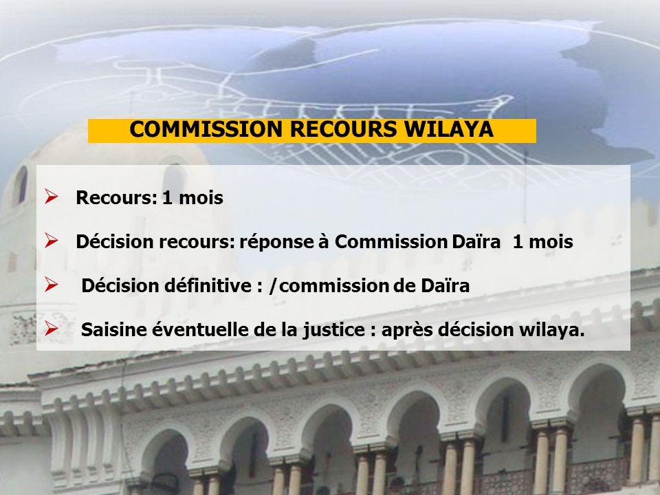 Recours: 1 mois Décision recours: réponse à Commission Daïra 1 mois Décision définitive : /commission de Daïra Saisine éventuelle de la justice : après décision wilaya.