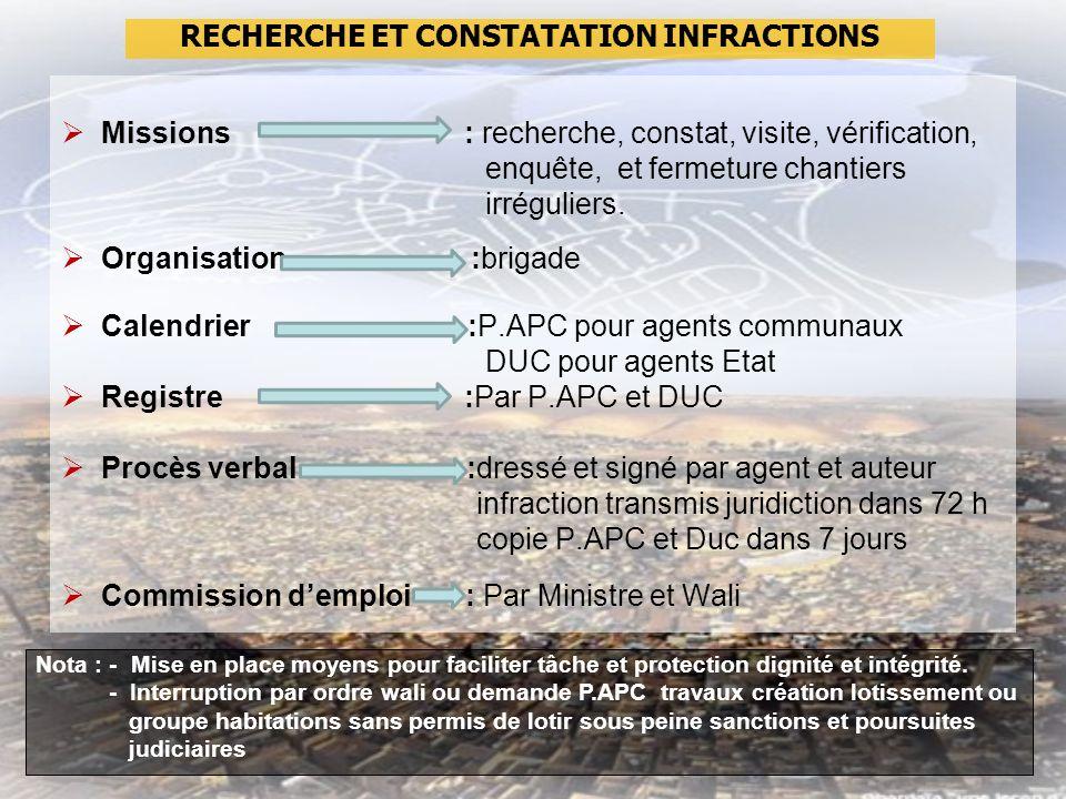 Missions : recherche, constat, visite, vérification, enquête, et fermeture chantiers irréguliers.
