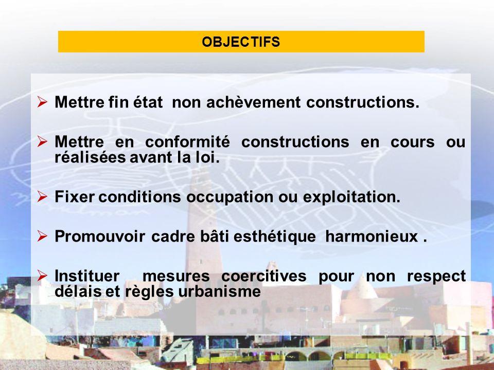 DEFINITIONS Constructions Occupation Exploitation Achèvement Mise en conformité Cadre bâti Esthétique Lotissement Groupe habitations Viabilités Aménagement Surface bâti Permis dachèvement.