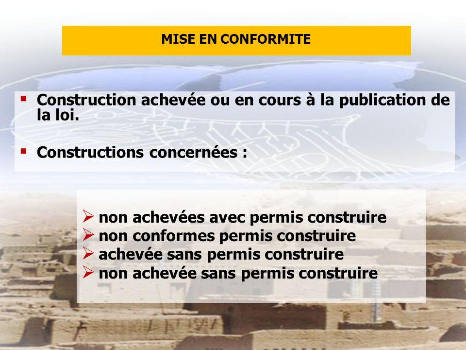 Construction achevée ou en cours à la publication de la loi.