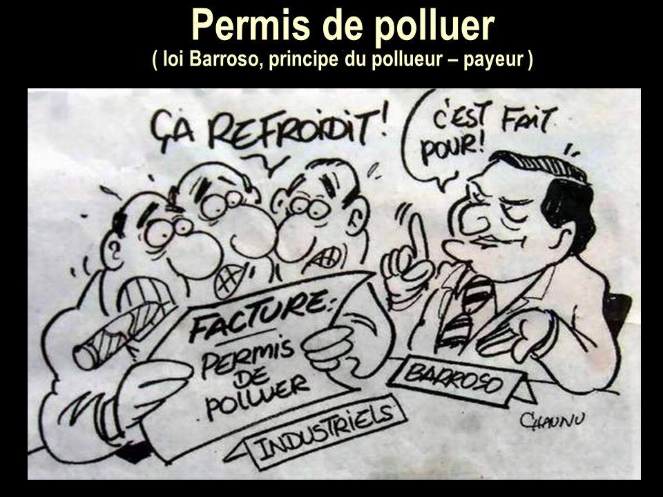Permis de polluer. ( loi Barroso, principe du pollueur – payeur )