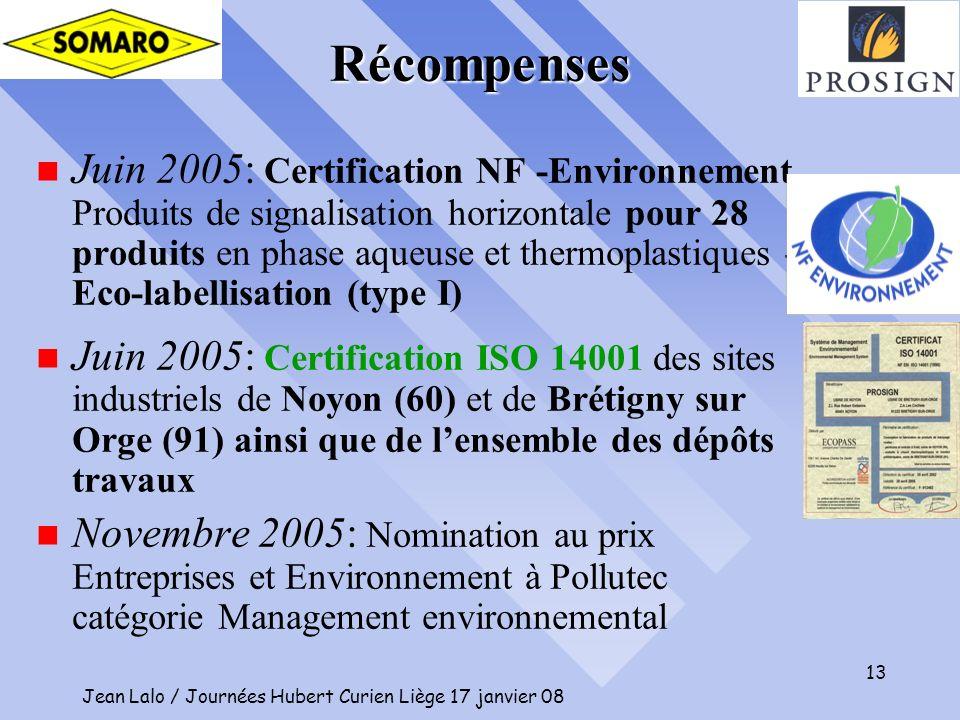 Jean Lalo / Journées Hubert Curien Liège 17 janvier 08 13 n Juin 2005: Certification NF -Environnement Produits de signalisation horizontale pour 28 p