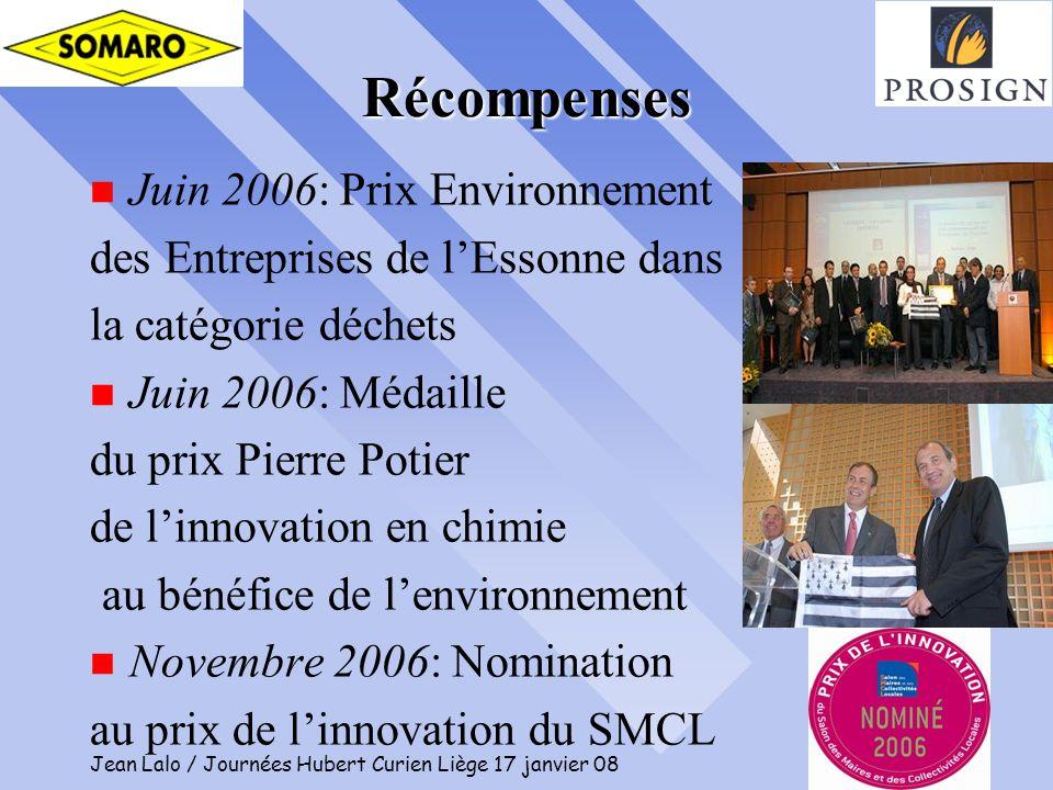 Jean Lalo / Journées Hubert Curien Liège 17 janvier 08 14 Récompenses n Juin 2006: Prix Environnement des Entreprises de lEssonne dans la catégorie dé