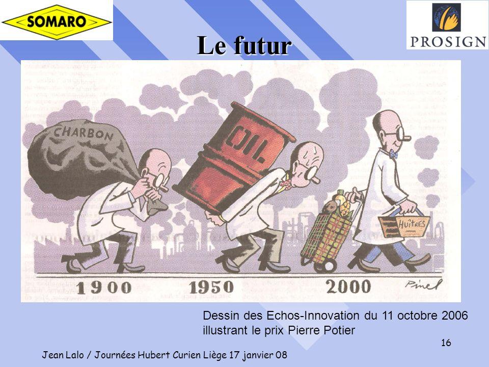 Jean Lalo / Journées Hubert Curien Liège 17 janvier 08 16 Dessin des Echos-Innovation du 11 octobre 2006 illustrant le prix Pierre Potier Le futur