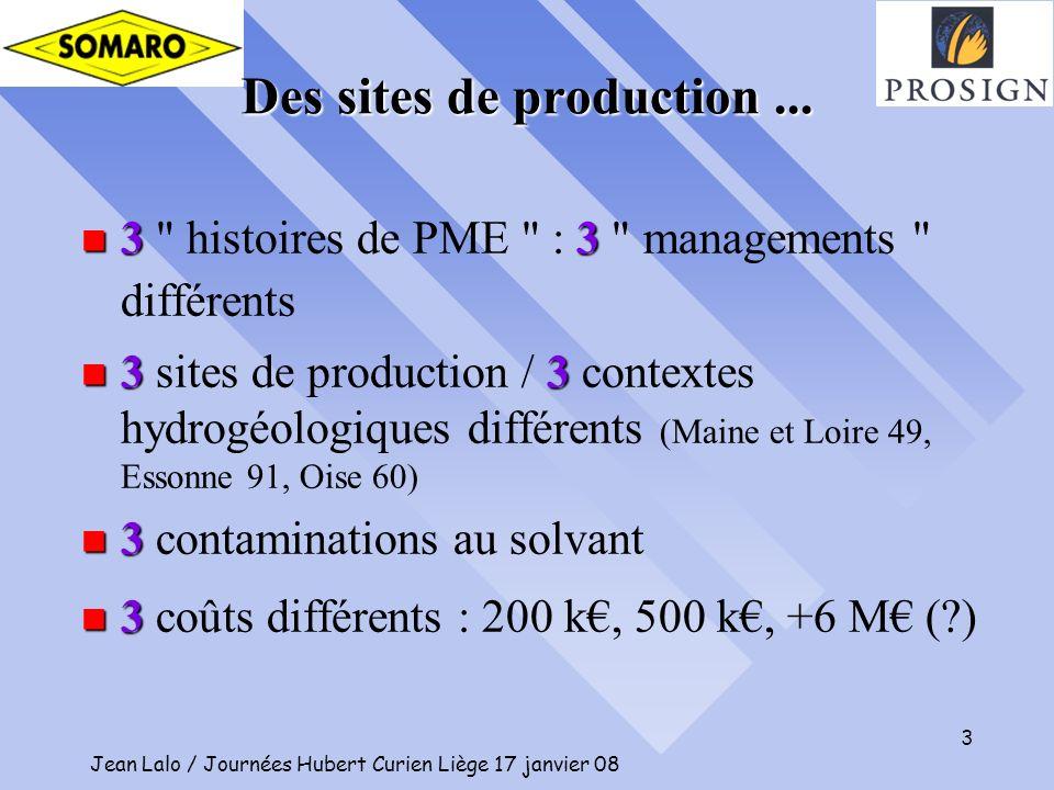 Jean Lalo / Journées Hubert Curien Liège 17 janvier 08 3 Des sites de production... n 33 n 3