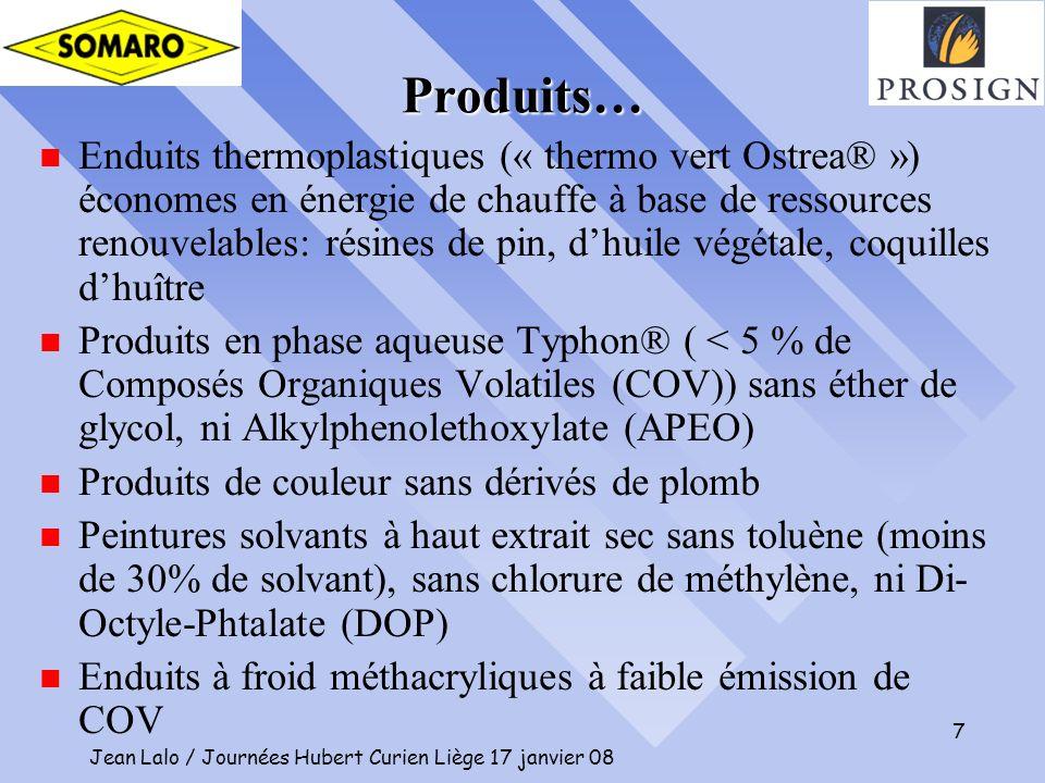 Jean Lalo / Journées Hubert Curien Liège 17 janvier 08 7 Produits… n Enduits thermoplastiques (« thermo vert Ostrea® ») économes en énergie de chauffe