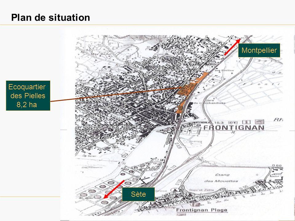 Plan de situation Parc 2000 Ecoquartier des Pielles 8,2 ha Montpellier Sète