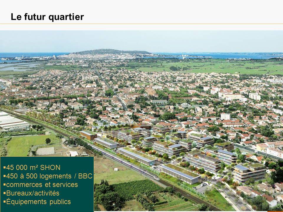 Le futur quartier 45 000 m² SHON 450 à 500 logements / BBC commerces et services Bureaux/activités Équipements publics