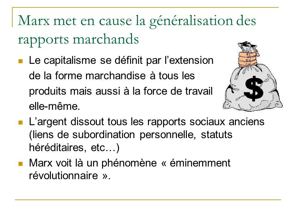 Marx met en cause la généralisation des rapports marchands Le capitalisme se définit par lextension de la forme marchandise à tous les produits mais aussi à la force de travail elle-même.