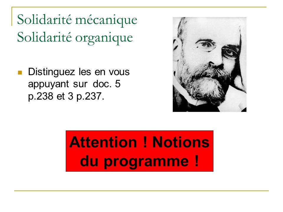 Solidarité mécanique Solidarité organique Distinguez les en vous appuyant sur doc.