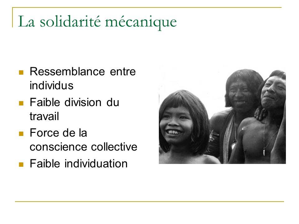 La solidarité mécanique Ressemblance entre individus Faible division du travail Force de la conscience collective Faible individuation