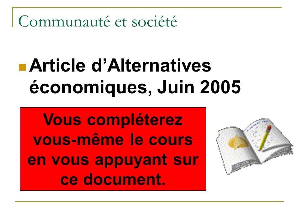 Communauté et société Article dAlternatives économiques, Juin 2005 Vous compléterez vous-même le cours en vous appuyant sur ce document.