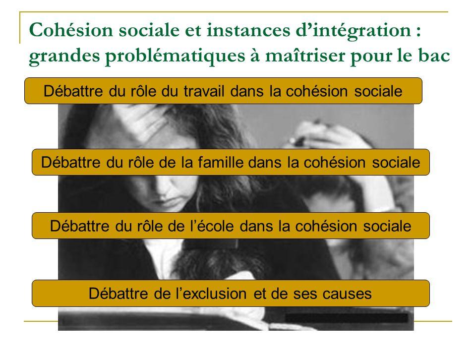 Cohésion sociale et instances dintégration : grandes problématiques à maîtriser pour le bac Débattre du rôle du travail dans la cohésion sociale Débattre du rôle de la famille dans la cohésion sociale Débattre du rôle de lécole dans la cohésion sociale Débattre de lexclusion et de ses causes
