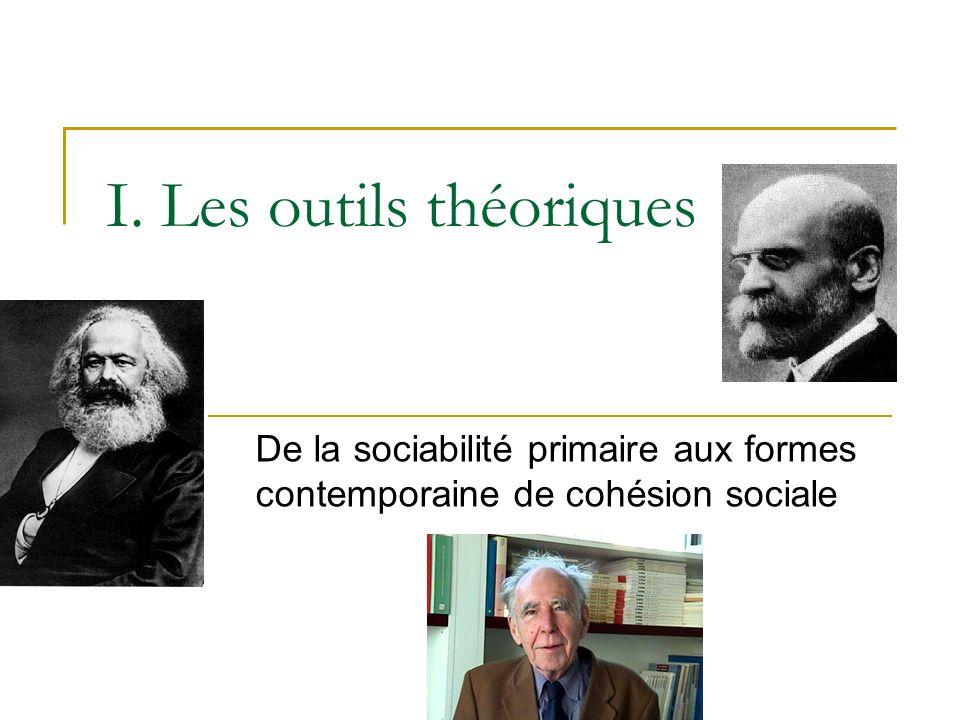 I. Les outils théoriques De la sociabilité primaire aux formes contemporaine de cohésion sociale