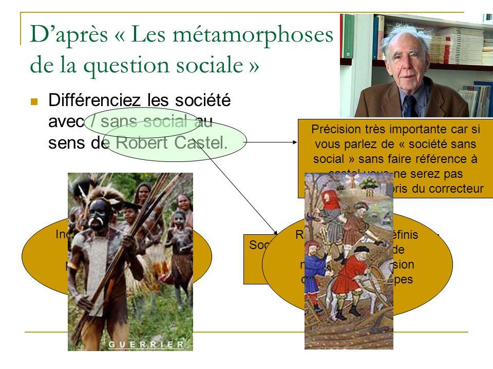 Daprès « Les métamorphoses de la question sociale » Différenciez les société avec / sans social au sens de Robert Castel. Précision très importante ca