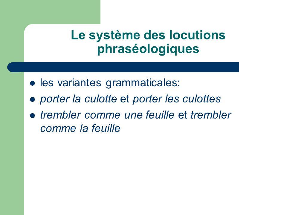 Le système des locutions phraséologiques les variantes grammaticales: porter la culotte et porter les culottes trembler comme une feuille et trembler comme la feuille